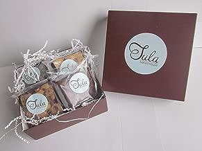 Tula Bakeshoppe Gourmet Vegan Brownie & Blondie Favorites Gift Box - Chocolate Chip Brownie, Chocolate Caramel Blondie, & Chocolate Peanut Butter Blondie (8 bars)