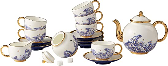 Pearls d Orient Collection, 17-pc Coffee Set, Premium Porcelain, Gold Decorated, Service for 6, For Wedding and Business Gifts, Tea Set, Coffee Set