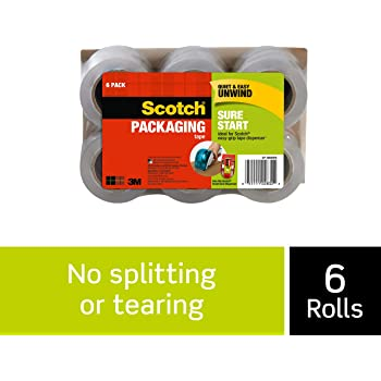"""Scotch Sure Start Shipping Packaging Tape, 6 Rolls, 1.88"""" x 25 Yards, Great for Packing, Shipping & Moving, Clear (DP-1000RF6)"""