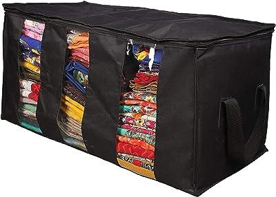 srajanaa Plastic Cloth Storage Bag for Saree (Black)