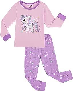 Little Girls Unicorn Pajamas Set, Children Pjs 100% Cotton Sleepwear