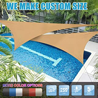 Amgo 32' x 32' x 32' Sand Beige Triangle Sun Shade Sail Canopy Awning, 95% UV Blockage Water & Air Permeable, Commercial & Residential, for Patio Yard Pergola, 5 Yrs Warranty (Custom
