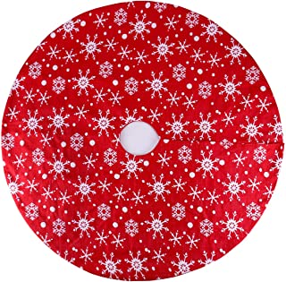 yuboo Red Knitted Christmas Tree Skirt, 36