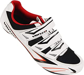 Venzo Bicycle Men's or Women's Road Cycling Riding Shoes - 3 Velcro Straps - Compatible with Peloton Shimano SPD & Look ARC Delta - Perfect for Indoor Spin Road Racing Bikes White