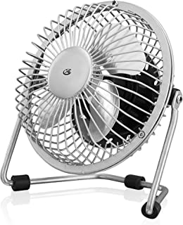 GPX Mini 4 Inch USB Personal Fan, Compatible with Computers, Laptops, Portable Chargers, Silver (AU25S)