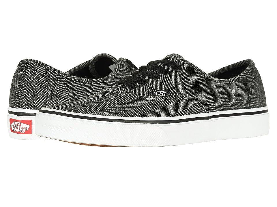 Vans Authentictm ((Oversized Herringbone) Black/True White) Skate Shoes