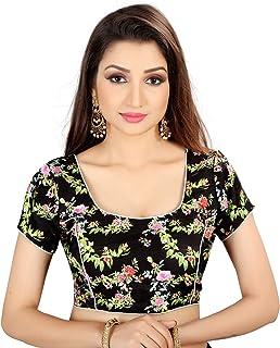 Ocean Fashion Women's Printed Black Round Neck Readymade Saree Blouse
