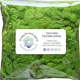 TEXTURED FELTING WOOL. Corriedale Fiber includes CURLY LOCKS for Needle Felting, Spinning, Doll Hair and Waldorf Crafts - Mojito