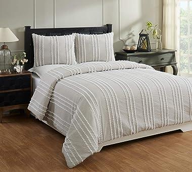 Better Trends Winston Comforter Collection 100% Cotton Tufted Unique Luxurious Soft Plush Machine Washable Tumble Dry, King,