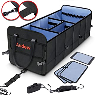 Audew Trunk Organizer - 3 Large Compartments Collapsible Car Storage Box with Tie Down Straps - 1680D Oxford Cloth Waterproof Non Slip Bottom with Upgraded Pressure-Reducing Handle for Car, Truck, SUV
