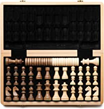 """A&A 15"""" Folding Wooden Chess & Checkers Set (2 in 1) w/ 3"""" King Height Chess Pieces / 2 Extra Queen / German Knight Staunt..."""