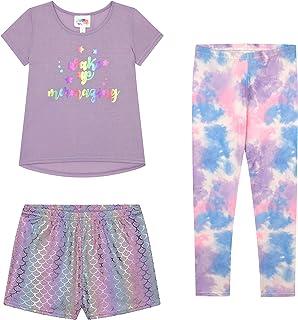 Btween Girls 3-Pack Mermazing Pajama Set with Tee Shirt, Shorts and Pants, Purple, Size 7