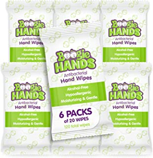 Hand Sanitizer Wipes by Boogie Wipes, Alcohol-Free, Hypoallergenic and Moisturizing Aloe, Boogie Hand Wipes for Adults and...