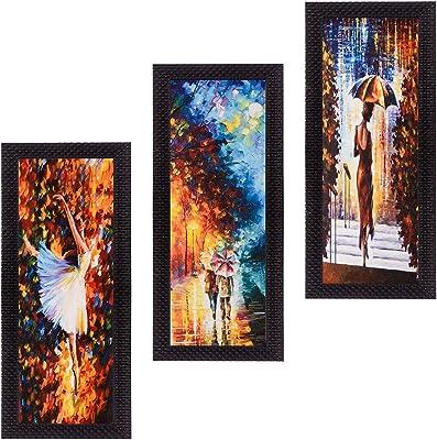 eCraftIndia 'Couple Love Moments' UV Art Painting (Synthetic Wood, 53 cm x 41 cm, Set of 3, Satin Matt Texture, C3FPB2205)