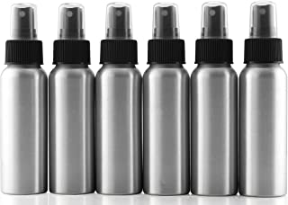Cornucopia Brands 2-Ounce Aluminum Fine Mist Spray Bottles (6-Pack); Mini Metal Atomizer Bottles, 2.75oz Travel/Purse/Sample Size