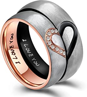 AnazoZ for Real Love Heart Engagement Rings Stainless Steel Rings Wedding Rings Band Rings 6 mm (price for 1).