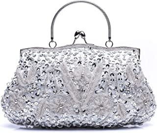 HOTER Wowens Antique Floral Seed/Bead/Sequin Bag Evening Clutch Wedding Party Clutch Purses and Handbags
