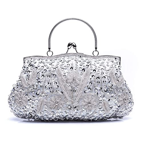 41bff88d4b VENI MASEE Collection Antique Floral Seed/Bead / Sequin Soft Clutch Evening  Bag, Exquisite