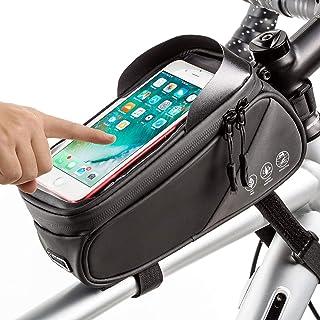 RANRANHOME Reflekterande cykel telefon styre väska, vattentät cykelramväska/topp tubväska, cykelförvaringsväska med pekskä...