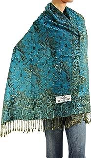 Women's Woven Reversible Paisley Pashmina Shawl Wrap Scarf 80