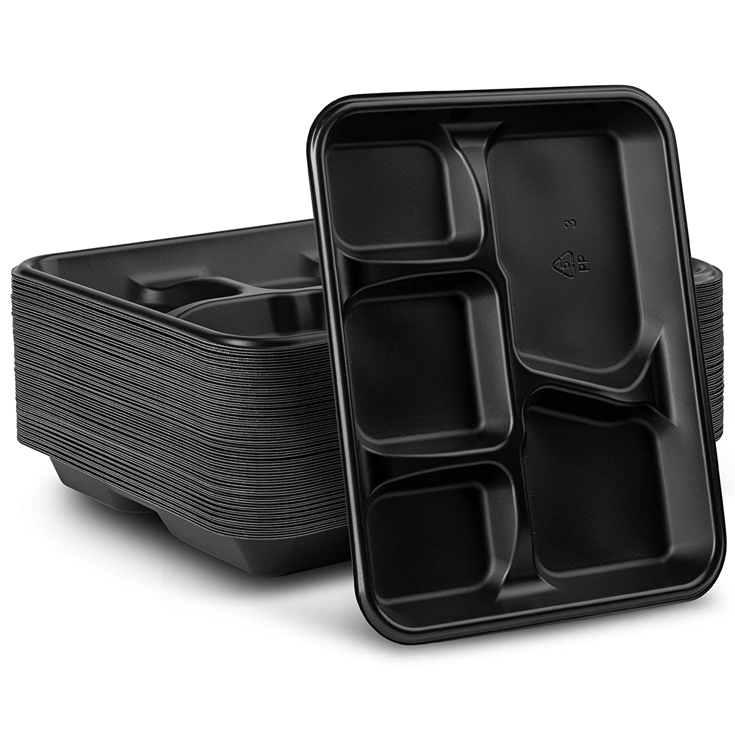 Eco-Friendly Plastic Plates 5-Compartment Lunch Tray [48-Pack 8x10