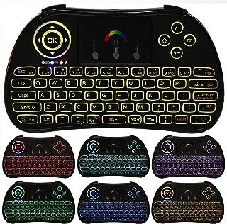 KSTE Mini Wireless Keyboard, 2.4Ghz 7 Colours Backlit Portable Wireless Handheld Keyboard with Touch