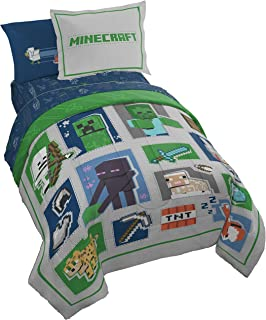 Minecraft Patchwork Mobs 7 Piece Full Bed Set - Includes Comforter & Sheet Set - Bedding Features Creeper, Ghost, Zombie, ...