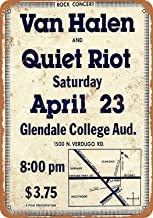 No dream Van Halen and Quiet Riot at Glendale Cartel de Pared de Pintura de Hierro Cartel de Banda Vintage de Metal Carteles de Chapa Placa de Marcas Retro para jardín Oficina