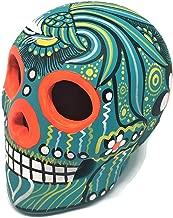 Matte Hand-Painted Ceramic Sugar Skull ~ Made in Mexico ~ Day of The Dead ~ Decor ~ Calavera ~ Dia de Los Muertos ~ Halloween (Mint/Teal)