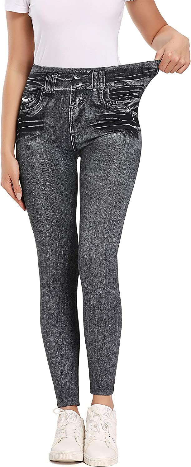 Womens Ultra Soft Jeans Look Leggings with Pockets High Waisted Fleece Lined Leggings