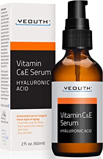 YEOUTH Vitamin C and E Day Serum with Hyaluronic Acid, anti aging skin care product/anti wrinkle serum will fill fine line...