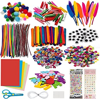1200Pcs Arts and Crafts Set,Creative Craft DIY Art Supplies for Kids,Includes Glitter Glue, Pompoms, Pipe Cleaners, Sequin...