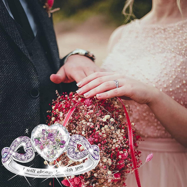 TUU Fashion Heart Crystal Ring, Alloy Microinlaid Zircon Promise
