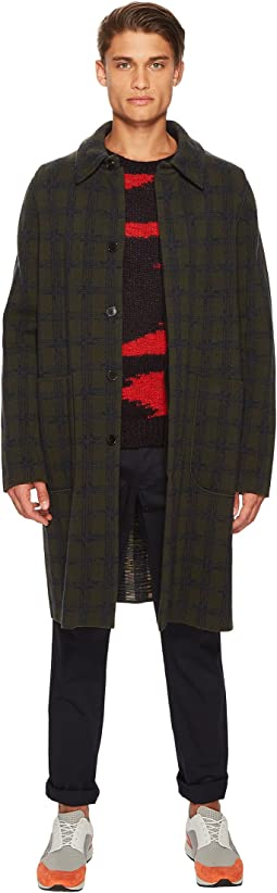 Boiled Wool Jacquard Coat