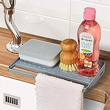 YOHOM Kitchen Sink Sponge Holder Organizer for Countertop Soap Tray Dishwashing Sponge Holder with Suction Cups Dish Cloth...