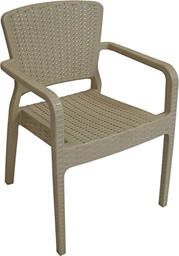 wholesale Sunnydaze Segonia Plastic Outdoor Dining Chair - Faux Wicker Rattan Design Armchair - Commercial Grade All-Weather Patio Lawn and lowest Garden Chair - Indoor/Outdoor high quality Use - Coffee - 1 Chair online sale