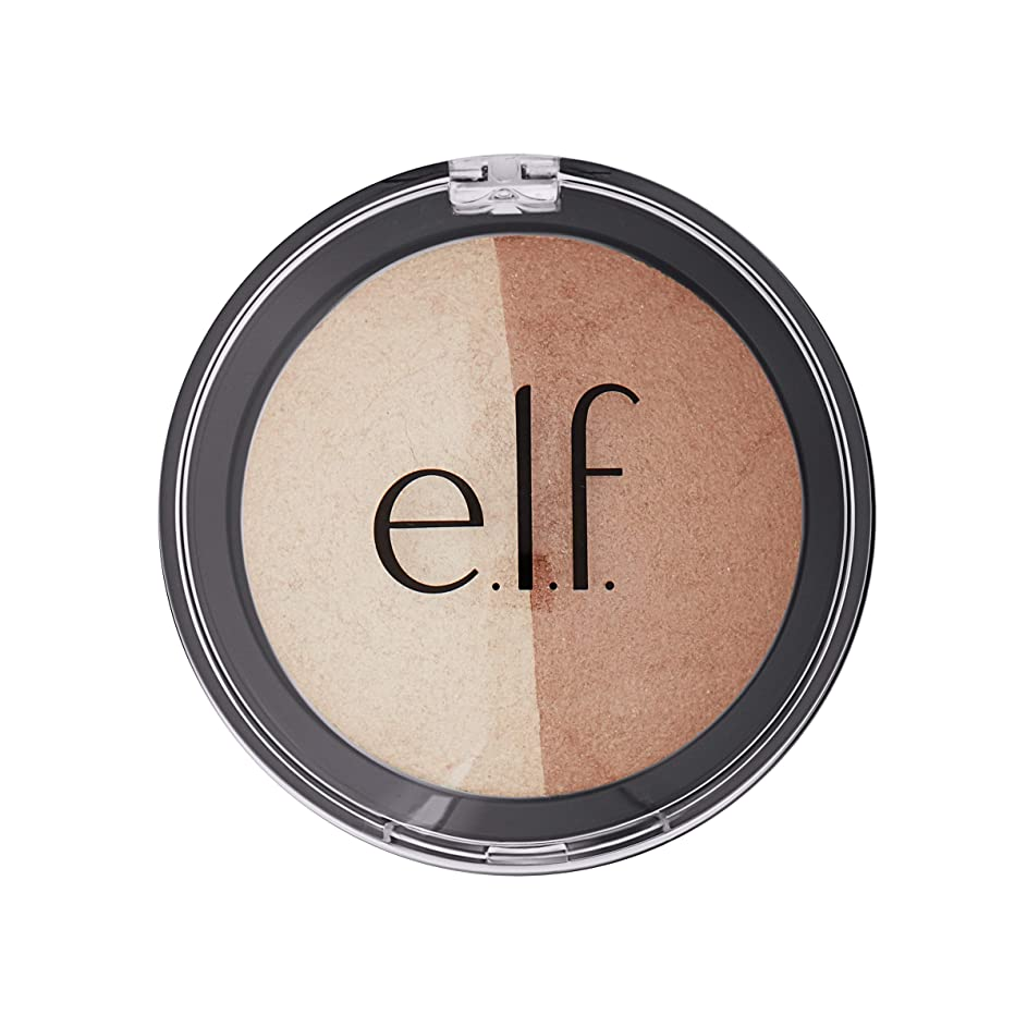 知性精神的に進行中E.L.F. Cosmetics, Baked Highlighter & Bronzer, Bronzed Glow, 0.183 oz (5.2 g)