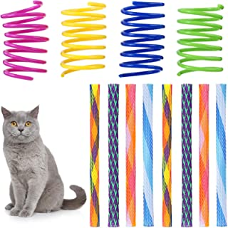 Skylety 50 Pieces Cat Spring Toys Set Colorful Coils for Kittens, Plastic Cat Springs Tube Toys Playful Coils for Cats Kit...