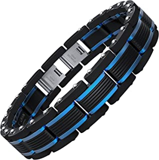 COOLMAN Mens Stainless Steel Bracelets Blue&Black Adjustable Bracelet for Men (Gift Box)