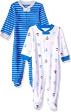 Amazon Essentials Baby Boys Cotton Footed Zip-Front Sleep and Play