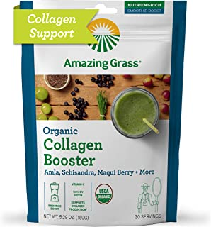 Amazing Grass Vegan Collagen Booster: Plant based Collagen Support Smoothie Booster with Amla, Schisandra & Maqui Berry, 3...