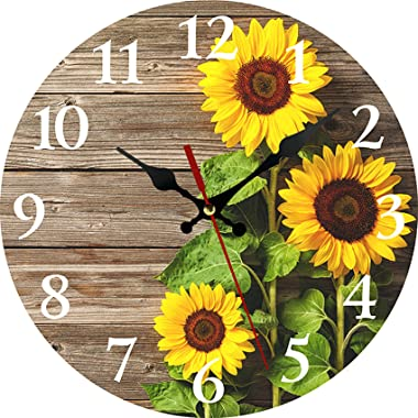 AMZBSR 12 Inch Retro Wall Clock,Vintage Sunflower Wall Clock,Silent Non-Ticking Battery Operated Round Vintage Wood Wall Cloc