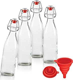 CHEFHQ 16 oz Glass Swing Top Bottles with Funnel - Set of 4 - Clear Grolsch Bottle with Flip Top Lids - For Home Brewing Beer, Wine, Soda, Kombucha Fermentation - Reusable Empty Bottles with Stoppers