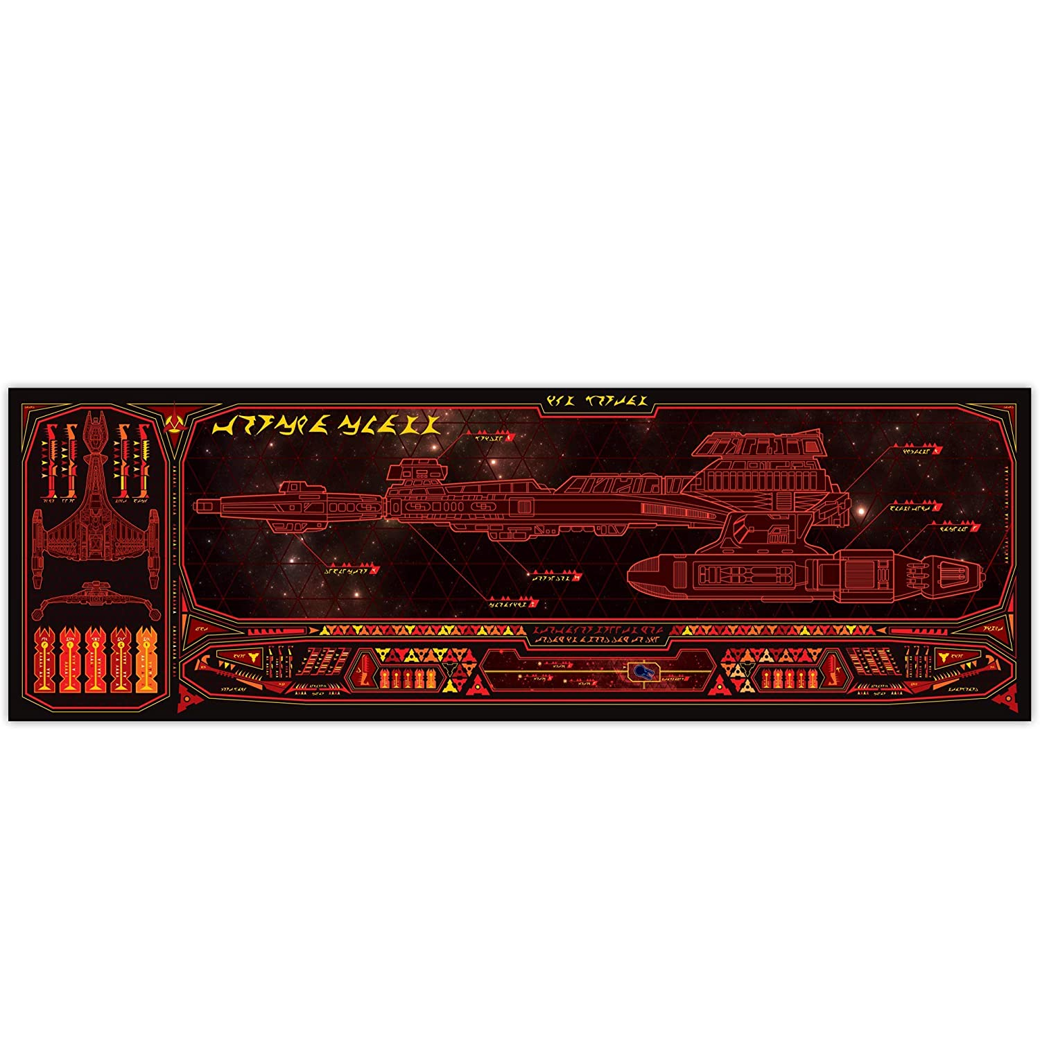Klingon Outstanding Vorcha Class - Poster LCARS Panoramic 36x11.75 Ranking TOP5