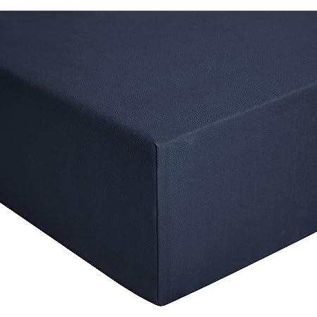 Amazon Basics Drap-housse en jersey, Bleu marine - 140 x 200 cm
