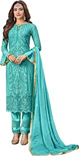 ARIA FABRICS Women's Faux Georgette Semi-stitched Salwar Suit