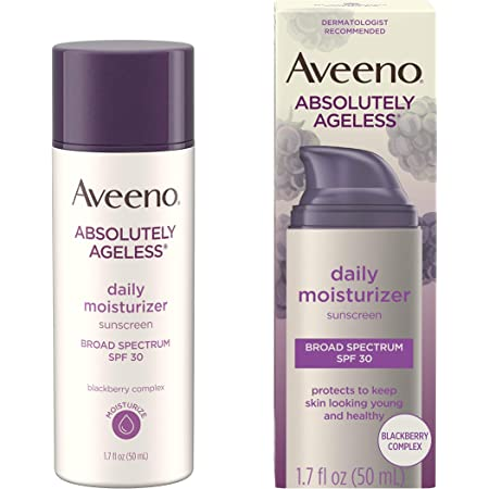 Aveeno Absolutely Ageless Anti-Wrinkle Facial Moisturizer with Broad Spectrum SPF 30 Sunscreen, Antioxidant-Rich Blackberry Complex, Non-Comedogenic & Oil-Free Face Moisturizer, 1.7 fl. oz