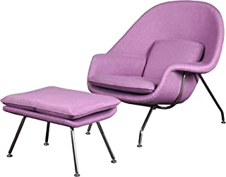 Cashmere Womb Chair and Ottoman Simple Modern Fashiounge Lounge Chair and Ottomann Style in Living Room (Purple)