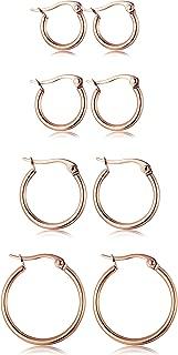 rose gold hoop earring set