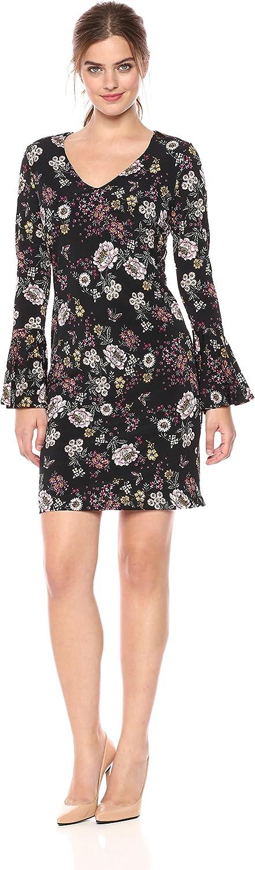 Karen Kane Womens Floral VNeck Bell Sleeve Dress Dress